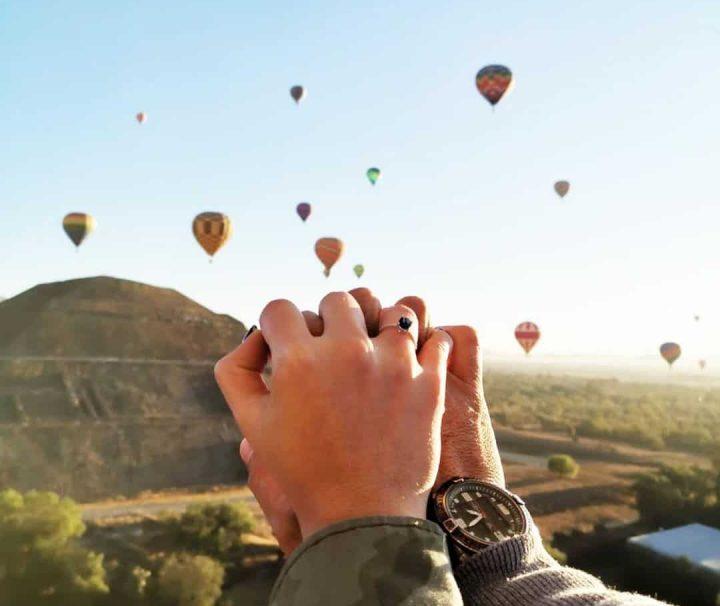propuesta de matrimonio globo aerostático en Teotihuacán